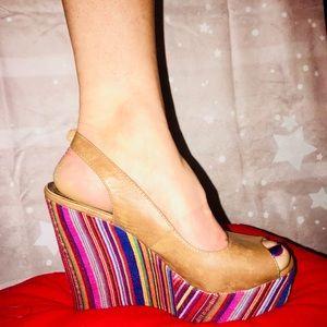 """Madden Girl"" Colorful Woven Peep-toe Wedge"